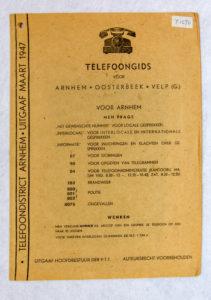 Telefoongisd Arnhem e.o. 1947